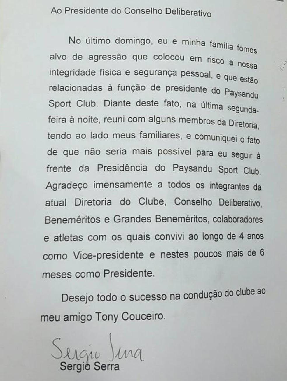 Carta de renúncia de Sérgio Serra (Foto: Divulgação)
