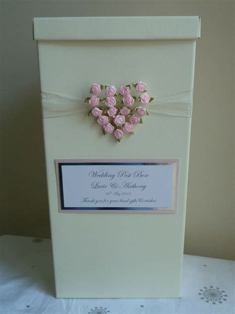 Wedding Post Box with rose heart. Choose rose heart colour
