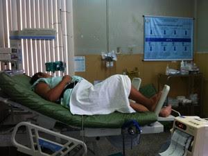 Centro cirúrgico também é usado como enfermaria (Foto: Caroline Holder/ G1)