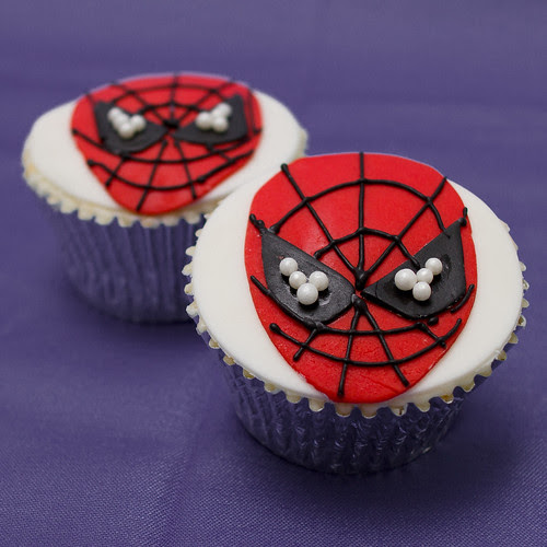 Gluten Free Clementine and Almond Spiderman Cupcakes