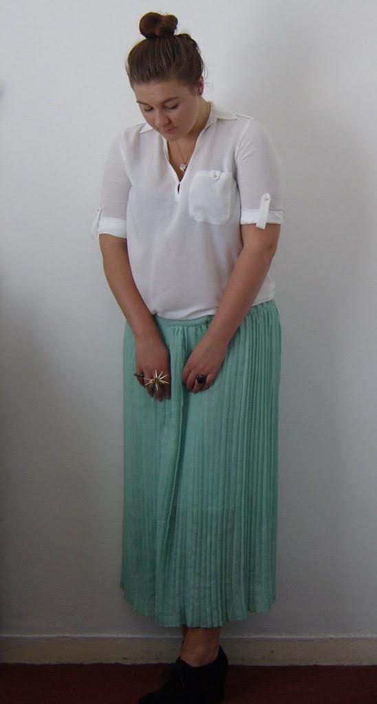 Mint Pleated Maxi Skirt & White Shirt 3