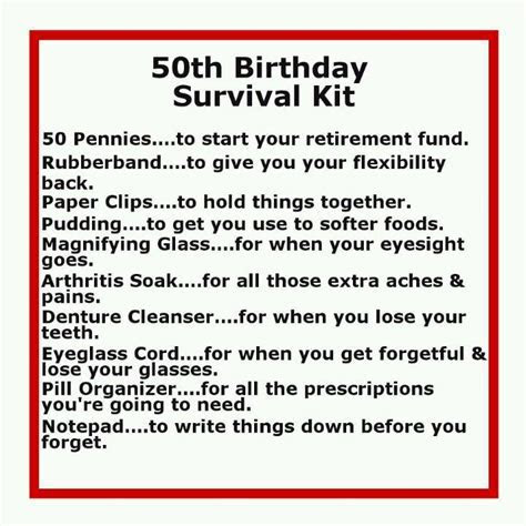 50th Birthday Survival Kit.lol   Funny quotes   Moms 50th