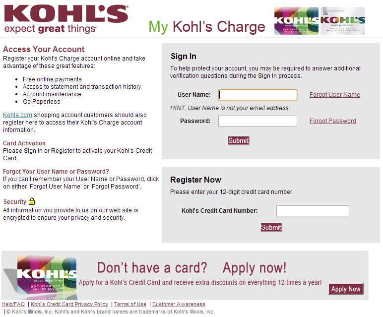kohls credit card payment address