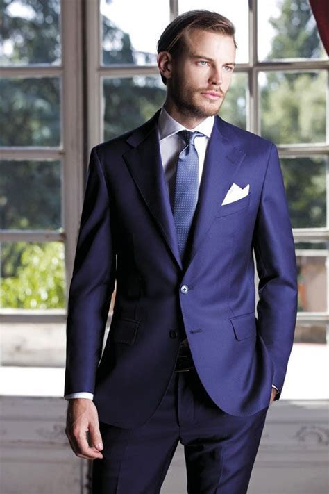 2017 Latest Coat Pant Designs Blue Italian Suits Slim fit