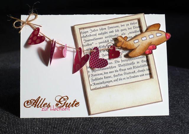 Flugzeug mit Herzenkette Alles Gute zur Hochzeit