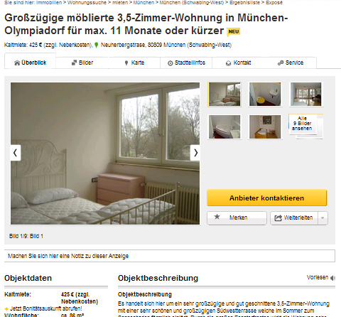 gro z gige m blierte 3 5 zimmer wohnung in m nchen olympiadorf f r. Black Bedroom Furniture Sets. Home Design Ideas