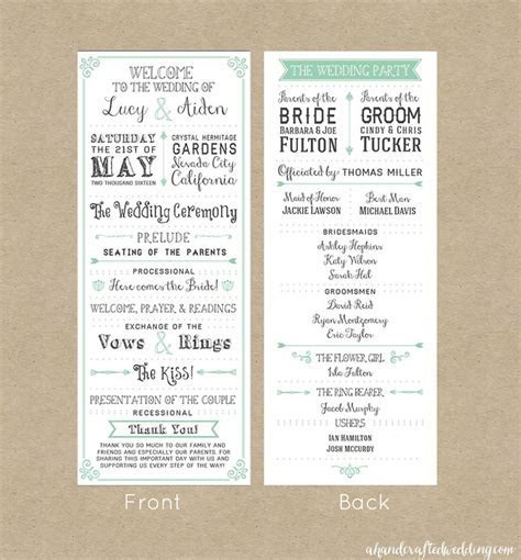 25  best ideas about Wedding Program Templates on
