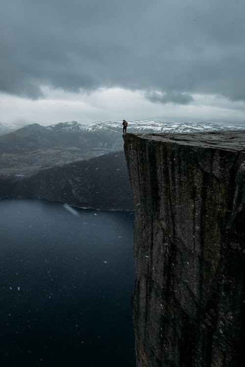 On the edge @ PreikestolenAtle Rønningen  Take a step back from life. Hopefully, back from the edge of the cliff. And enjoy the big picture. Enjoy the beauty of nature and what's important in life. Appreciate your life and your health and let the little unimportant issues go.