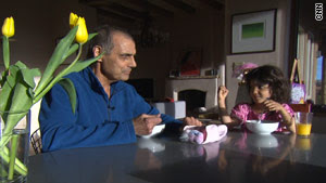 Former CNN sports anchor Nick Charles shares breakfast with his daughter, Giovanna, who is 5.