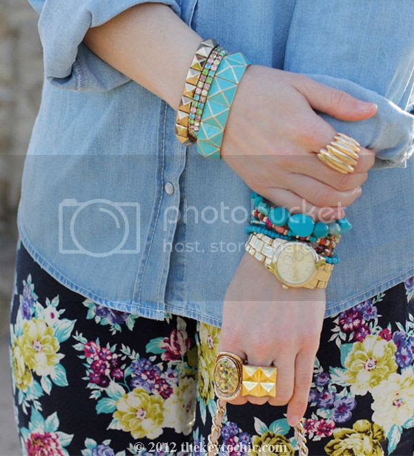 chambray faded pocket top, Love Culture floral pants, southern California fashion blog