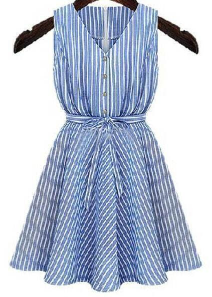 V Neck Striped With Belt Flare Blue Dress pictures