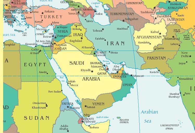 Mapa Médio Oriente
