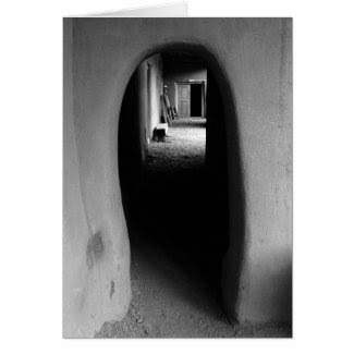 Adobe Passageway: Black & White photo of Taos, NM Greeting Cards