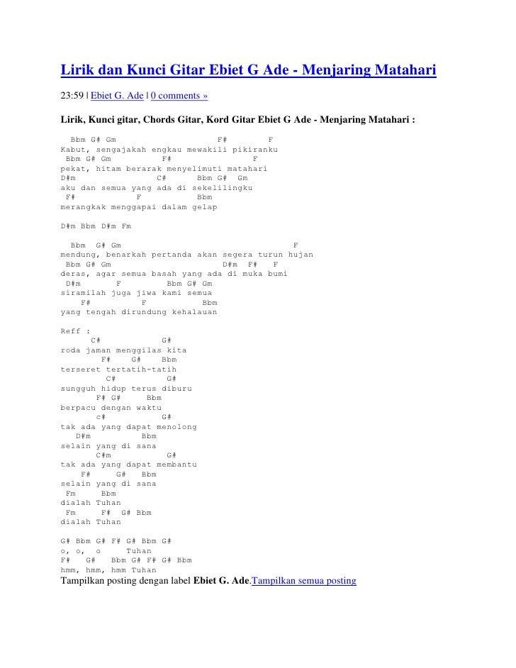 Ade 0 comments »Lirik, Kunci gitar, Chords Gitar View Image