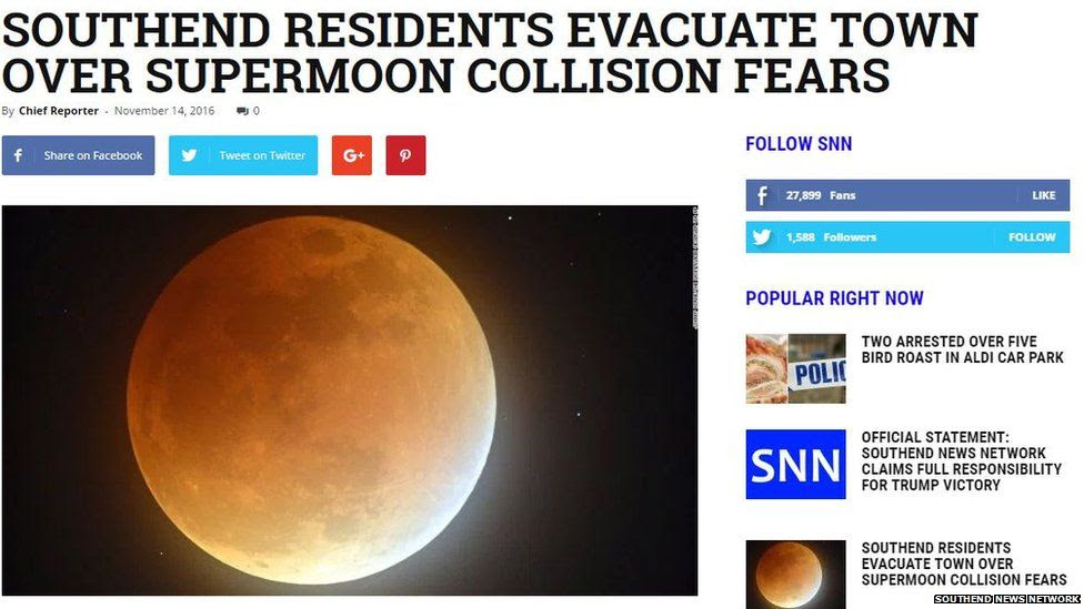 A story from Southend News Network with the headline 'Southend Residents evacuate town over supermoon fears'.
