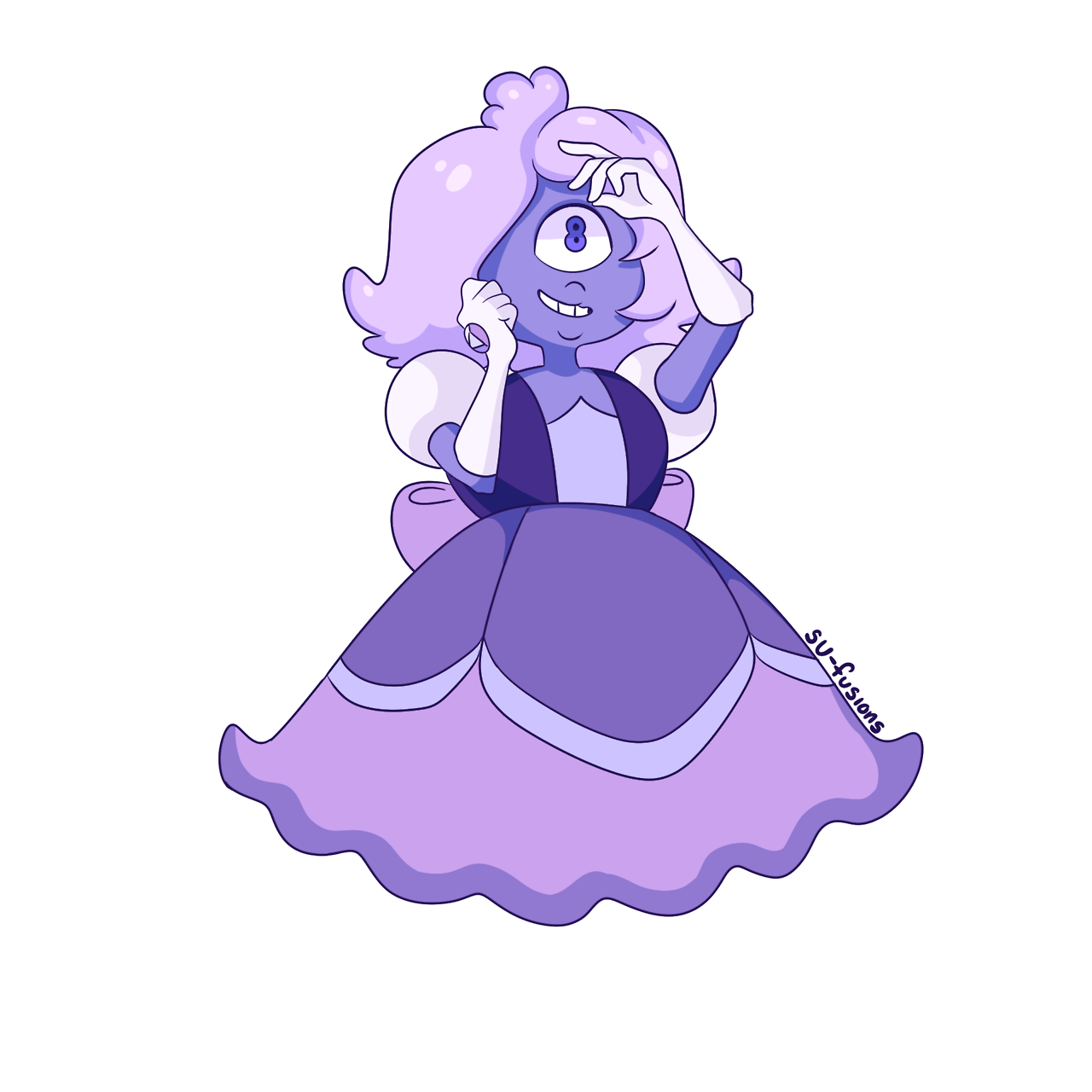 Purple Sapphire! Padparadscha Sapphire (my wife) fused with CG Sapphire = this beauty! Requested by @retrocognitive-sapphire! ooooooo I love her so much!!! Bonus: