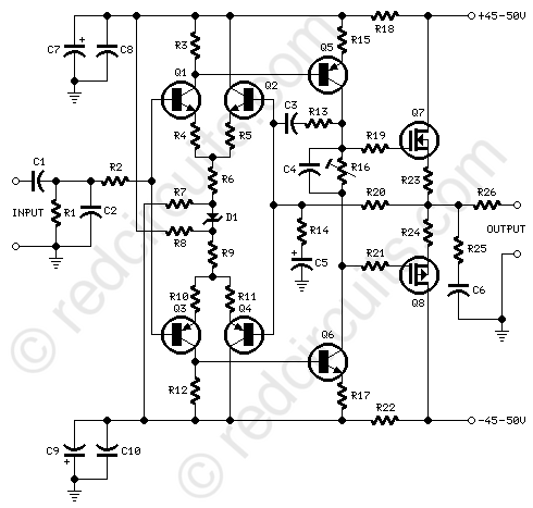 high quality audio amplifier circuit audio frequency