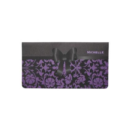 Elegant Floral Purple and Black Damask Checkbook Cover