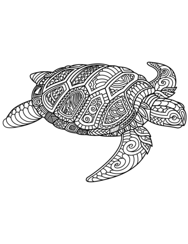 sea turtle zentangle coloring page  free printable coloring pages