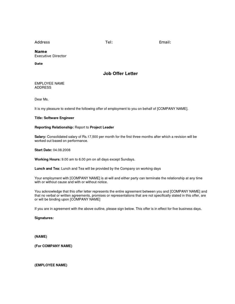 Emigrate or immigrate: Simple job offer letter sample