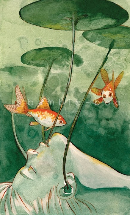 "7x11"" Fishes Wishes Watercolour Gouache Painting Illustration Giclee Art Print"