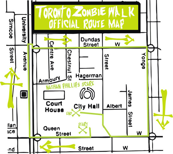 Toronto Zombie Walk Route Map