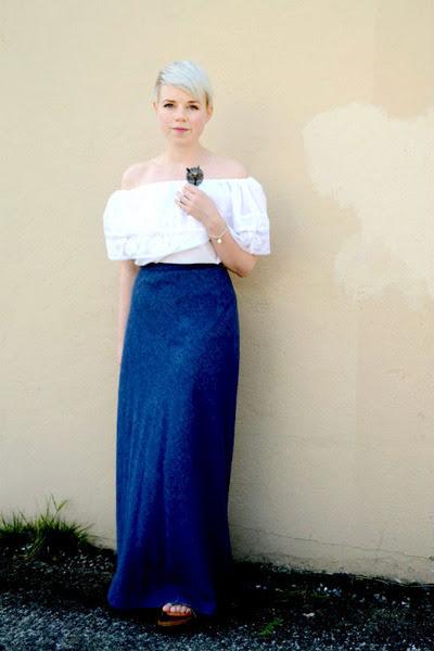 navy vintage denim skirt - silver Tiffany bracelet - white off shoulder blouse