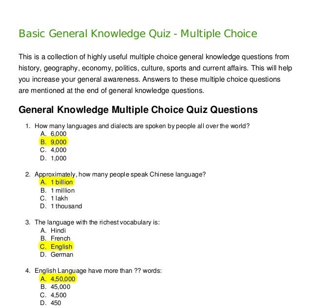 General Knowledge Quiz Multiple Choice Questions ...