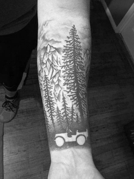 Fantastic Forest Negative Space Jeep Tattoo Designs For Men