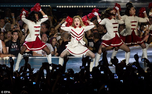 Giving all her love: The US singer performed an energetic routine with her backing dancers at the ready