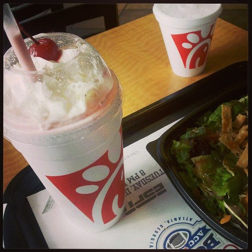 Attempting to balance out my peppermint milkshake with a salad