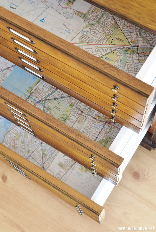 Map Lined Drawers | The Painted Hive