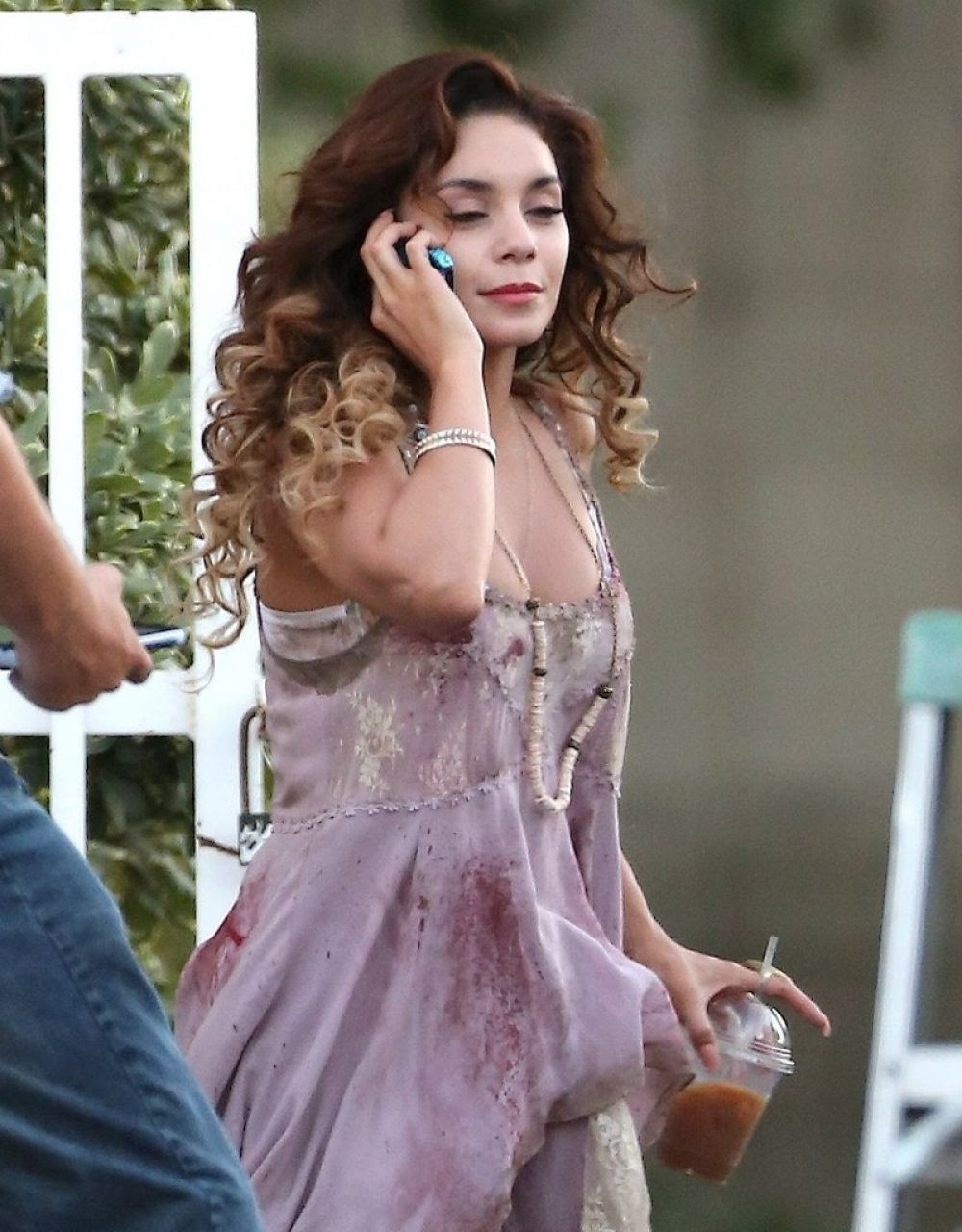 VANESSA HUDGENS on the Set of Freaks of Nature in Los Angeles 09/30/2015