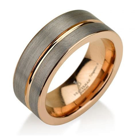 Black Gunmetal Tungsten Ring Rose Gold Wedding Band Ring