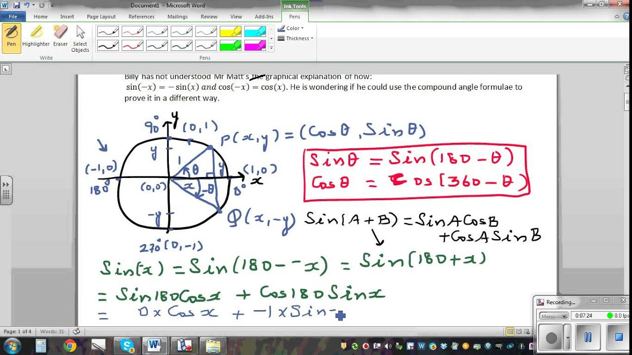 Using unit circle to prove Sin(-x) = Sin(x) and Cos(-x) = Cos(x ...