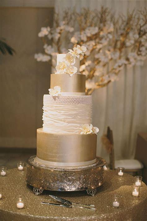 Metallic Wedding Cake on Gold Sequin Linens   Jake and