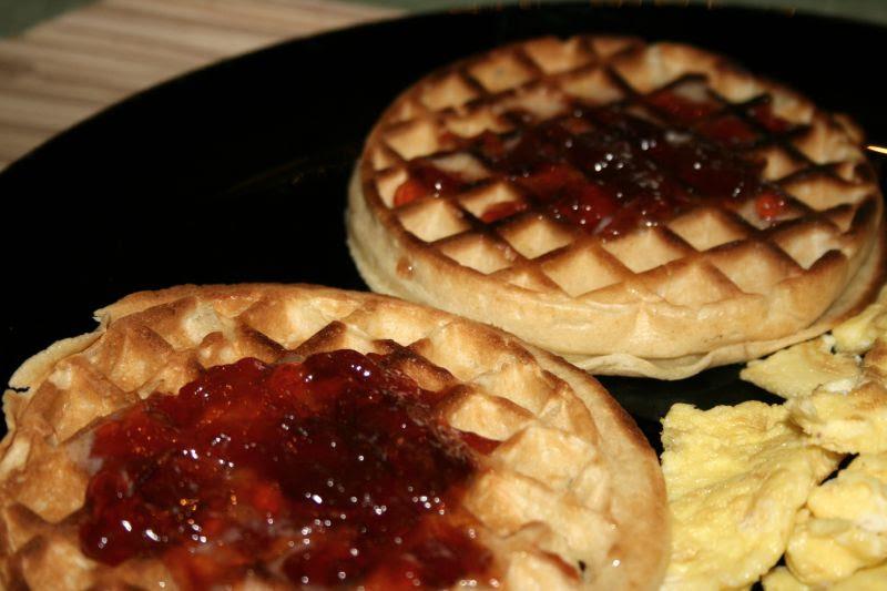 Pluot jam on waffles