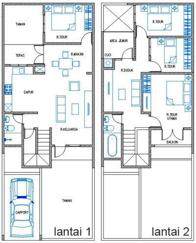 aksesoris 20 denah rumah 3 kamar 2 teras motif minimalis