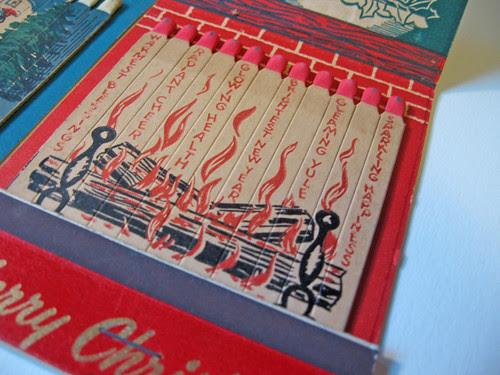 Inside a vintage jumbo matchbook