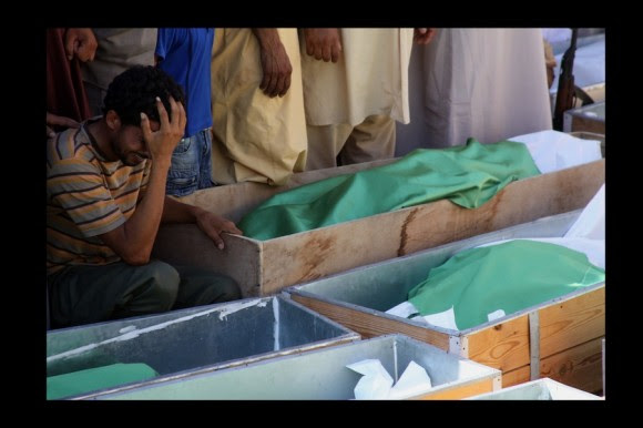 Masacre de Majer. Seis misiles, en plena noche, masacran 20 familias en zona agrícola. 85 civiles muertos. (Majer, agosto 2011)