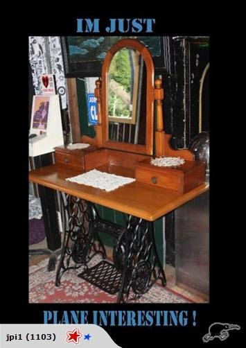 Pine dressing table mounted to the top of an old singer treadle sewing machine base.   Top measures : 1mtr9cm x 50cm x 75cm from the floor.   Tilt mirror with two small draws.