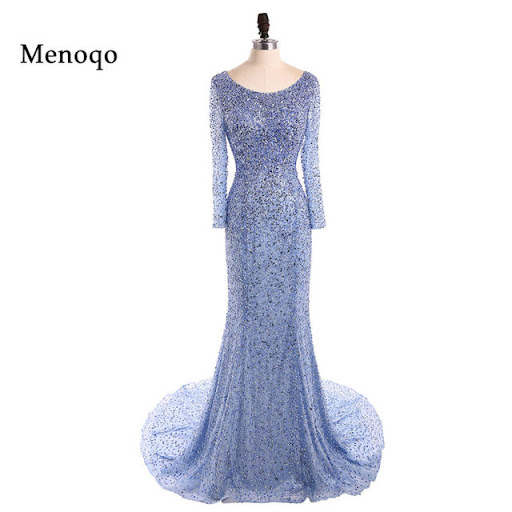 9eb9b3af26 Menoqo Luxury Beaded Mermaid Prom Dresses Vestido De Festa 2018 Boat Neck  Long Sleeves Shining Formal Evening Party Dresses