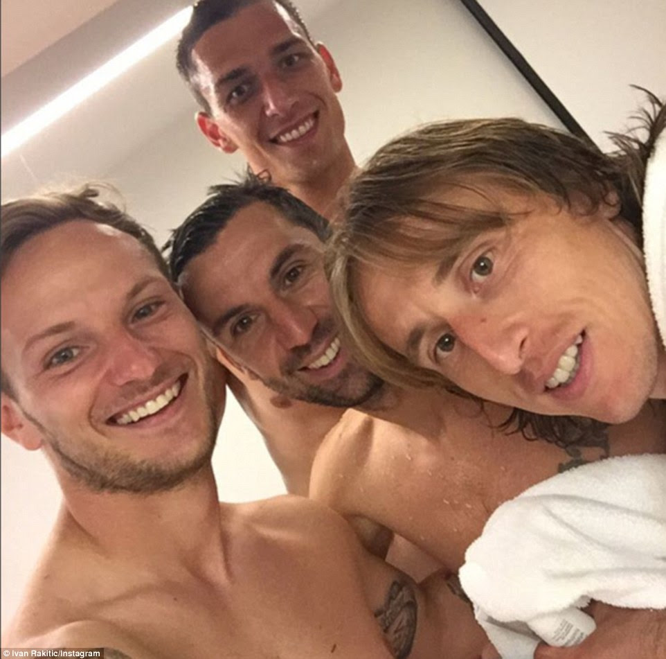 Ivan Rakitic posed for a selfie alongside matchwinner Modric and fellow Croatia team-matesLovre Kalinic and Darijo Srna
