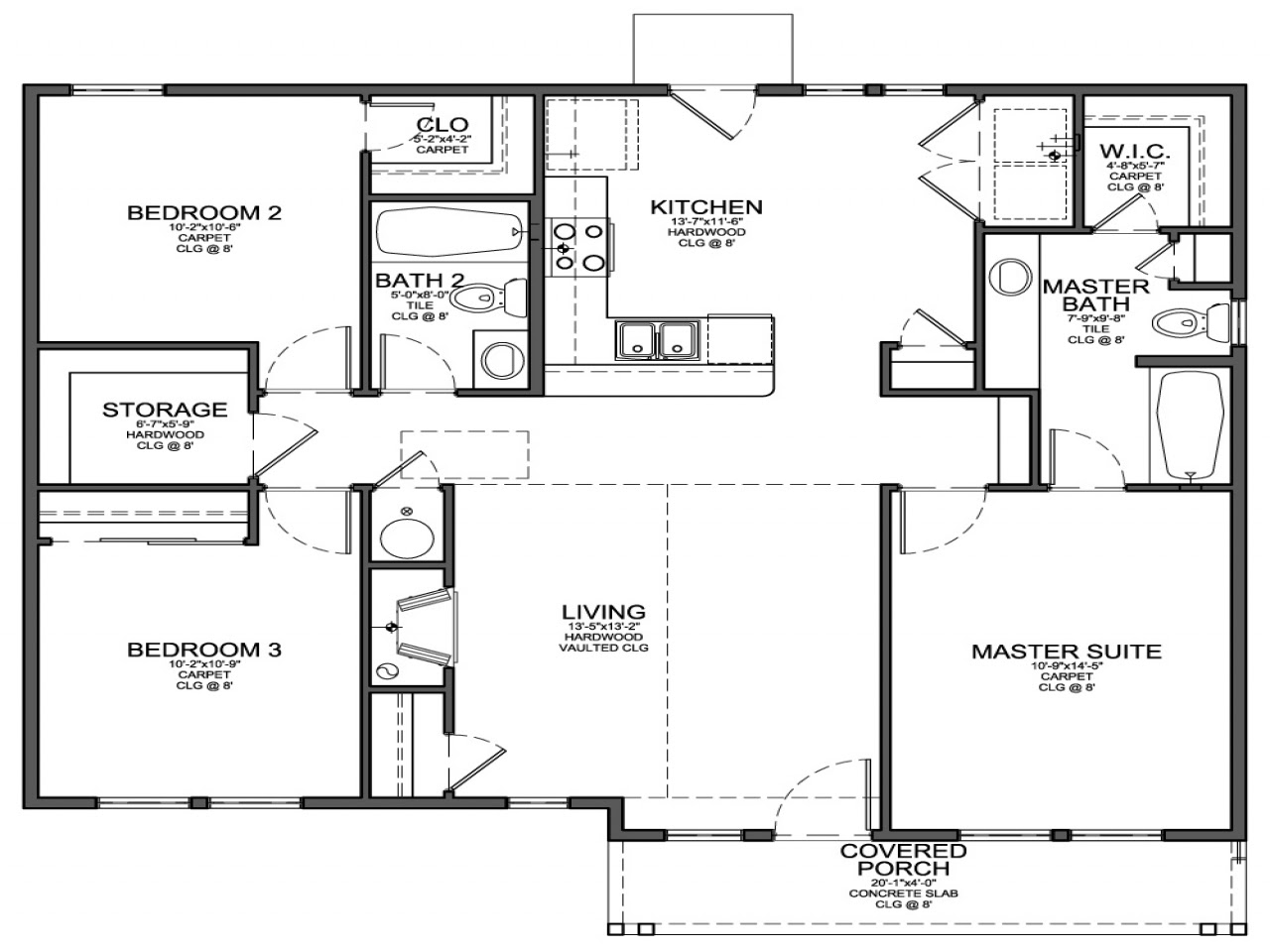 Small 3 Bedroom House Floor Plans 2 Bedroom House with ...