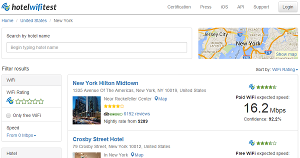 HotelWiFiTest.com ranks hotels' Wi-Fi speed and shows hotels with free Wi-Fi.