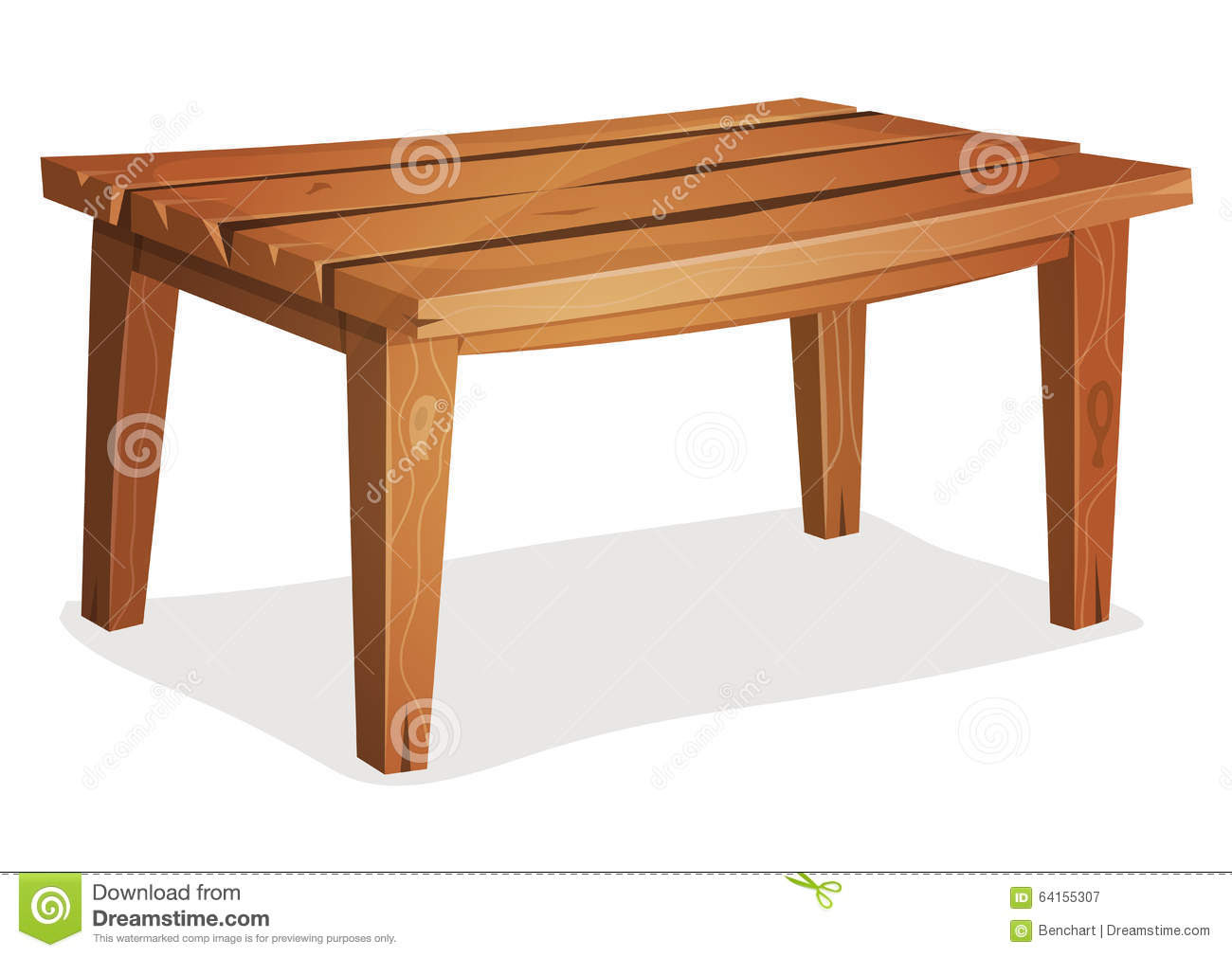 cartoon wood table illustration funny wooden kitchen garden isolated white background creation home interior 64155307