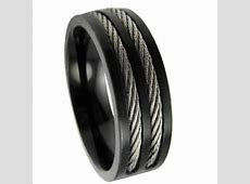 Men's stainless steel black cable ring