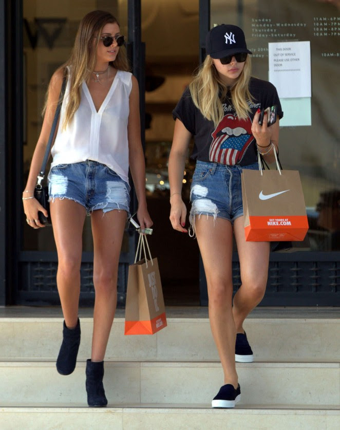 Chloe Moretz in Jeans Shorts -12