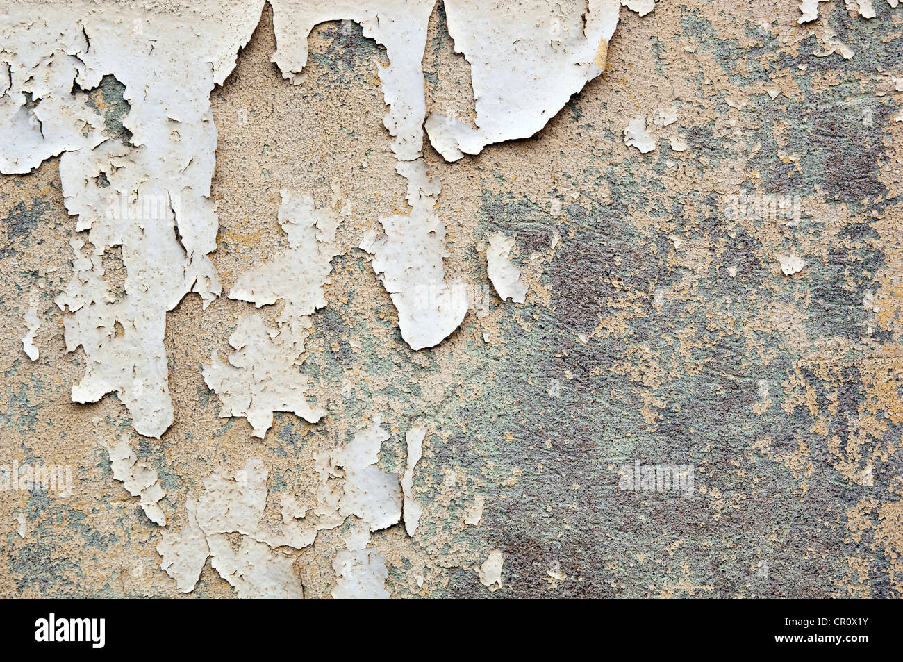 Paint peeling off a concrete wall forms grunge texture ...