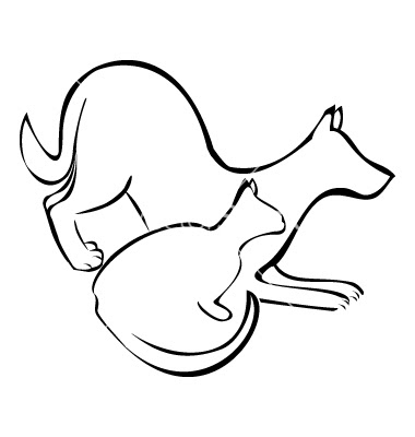 Dog And Cat Clipart Outline